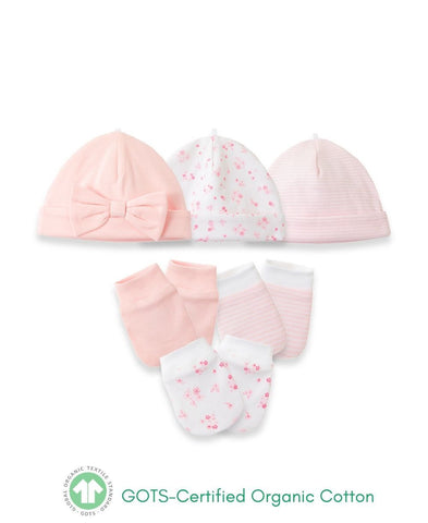 Little Me 6pc pink hat & mitten set