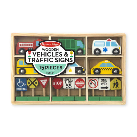 Melissa & Doug wooden vehicle & traffc sign