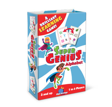 Blue Orange Super Genius: Alphabet. Card game for learning the alphabet. 1-6 palyers for ages 3 and up.