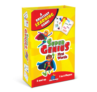 Blue Orange Super Genius: First Words. Card games for learning first words. 1-6 players for ages 5 and up.