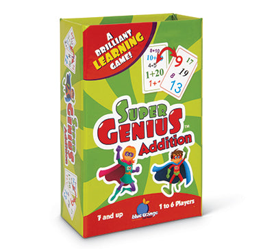 Blue Orange Super Genius: Addition. Card game for learning addition. 1-6 players for ages 7 and up.