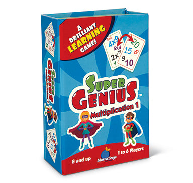 Blue Orange Super Genius: Multiplication. Card game for learning multiplication. 1-6 players for ages 8 and up.