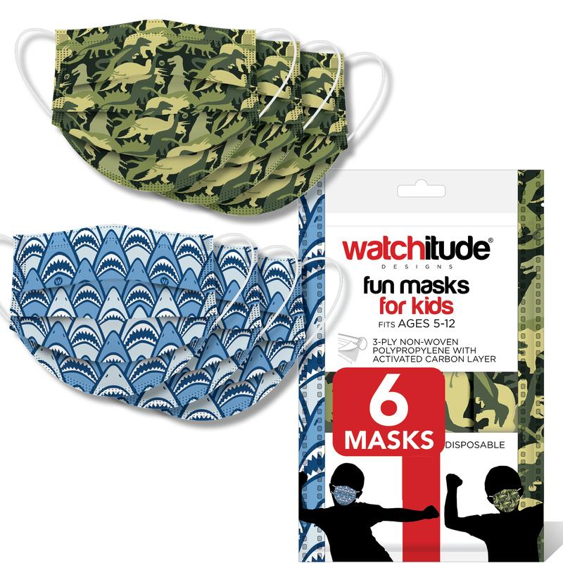 Watchitude 6 pack kids disposable non-medical face mask- dinosaur & shark