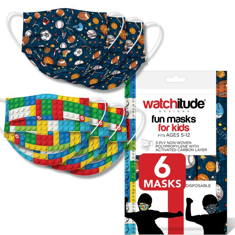 Watchitude 6 pack kids disposable non-medical face mask- sports & building bricks