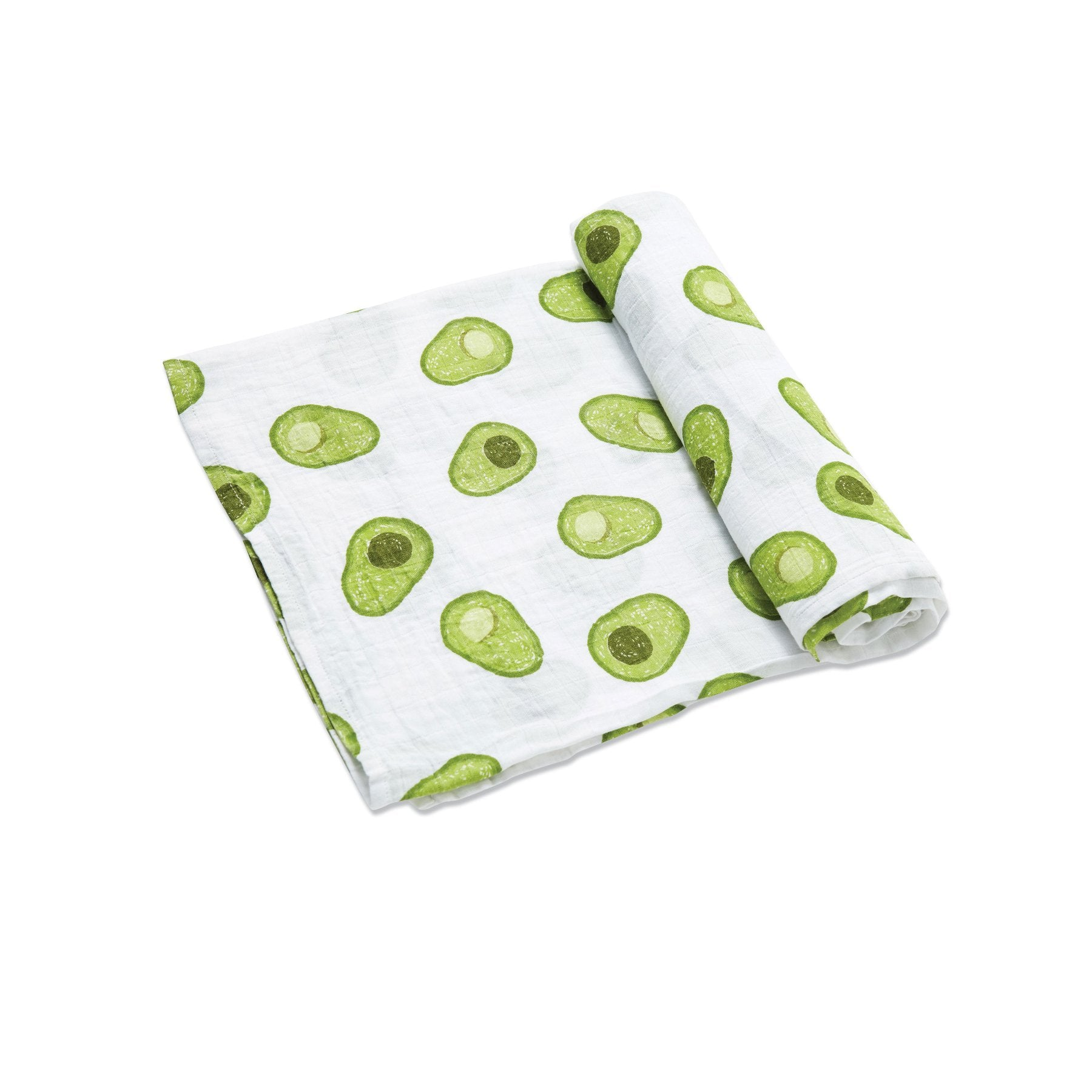 Angel Dear Muslin Swaddle Blanket. White blanket with green avocados.
