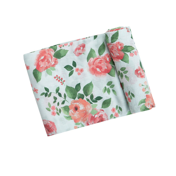 Angel Dear Muslin Swaddle Blanket. Light blue blanket with pink and green floral.