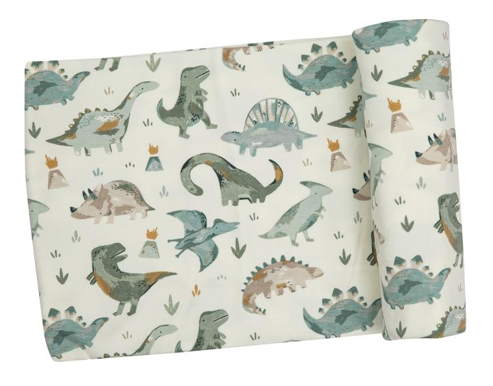 Angel Dear crayon dinosaur swaddle blanket. White blanket with green dinosaur pattern.