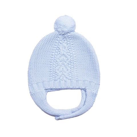 Angel Dear Cable Pilot Hat. Light Blue knitted infant hat with light blue pom on top.