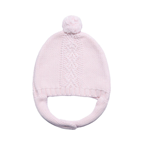 Angel Dear Cable Pilot Hat. Pink knitted infant hat with pink pom on top.
