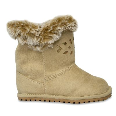 Baby Deer girls fur trimmed boot- tan on brown sole. Small cut out pattern on front.