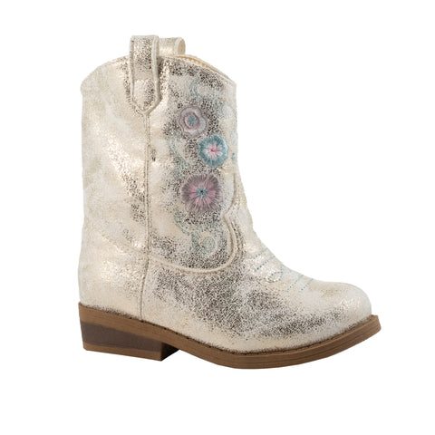Baby Deer girls western boot- ivory shimmer floral on dark brown sole. Purple and Blue floral on top of ivory shimmer. Girl Boot.
