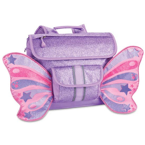 Bixbee Small Lavender Sparkle Butterflyer Backpack. Purple glitter backpack with pink butterfly wings on the sides.