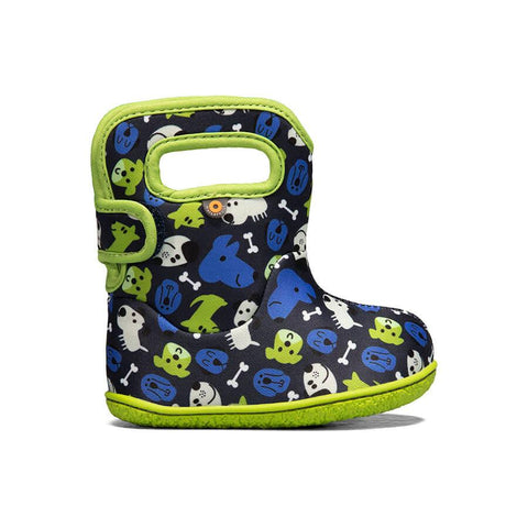 Bogs Baby Rain Boot- blue dogs. Rain/Snow insulated and light weight boots for toddlers. Black boot with blue/green and white dog pattern. Neon green trim and sole.