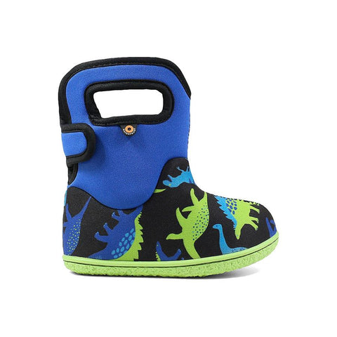Bogs Baby Rain Boot- blue & green dinos. Rain/Snow insulated and light weight boots for toddlers. Upper part of boot is blue with lower being black having blue/green dino pattern and a neon green sole.