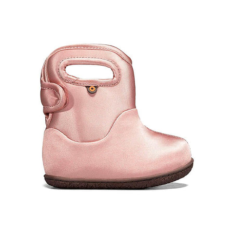 Bogs Baby Rain Boot- metallic pink. Rain/Snow insulated and light weight boots for toddlers. Shimmery pink with brown sole.