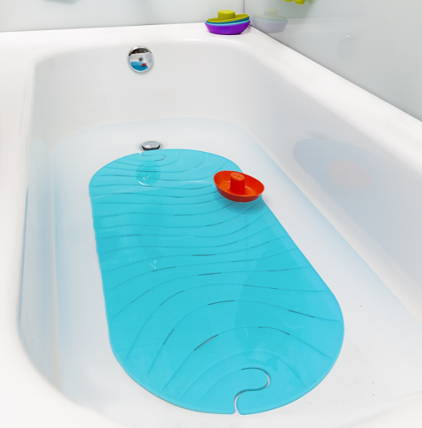 Boon ripple bath mat. Blue ripped bath mat.