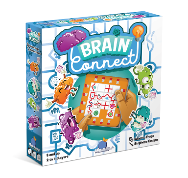 Blue Orange Brain Connect. Slide and connect your thoughts into the right order. 2-4 players for ages 8 and up.