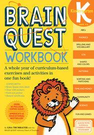 Brain Quest Workbook: Kindergarten. This workbook consist of ABCs, phonics, spelling, vocabulary, 123s, shapes, colors, patterns, sorting, matching, time, money, community, science, fun, and games. For ages 5-6.