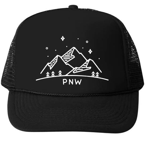 "Bubu PNW Trucker Hat- Black. All black hat with embroidered mountains and slogan ""PNW"" under mountains."