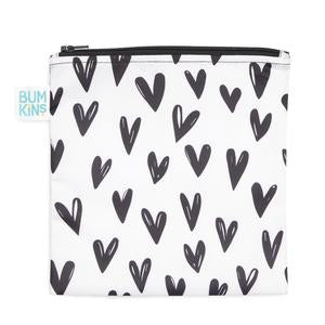 Bumkins large snack bag - black & white hearts. White bag with black hearts.