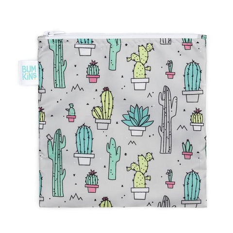 Bumkins large snack bag - cacti. Grey bag with cacti.