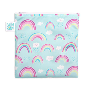 Bumkins wet bag- rainbow. Blue bag with rainbow pattern.