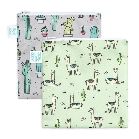 Bumkins 2 pack large snack bags- cacti & llama. One grey bag with cacti. The other bag green with llamas.