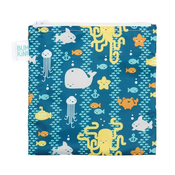 Bumkins large snack bag - sea friends. Blue bag with different sea creatures.