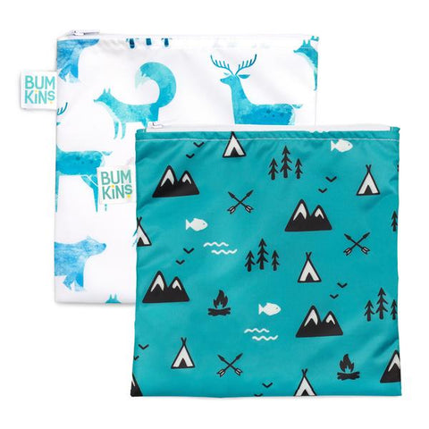 Bumkins 2 pack large snack bags- outdoor & wildlife. One bag white with wildlife. The other bag blue with outdoors.