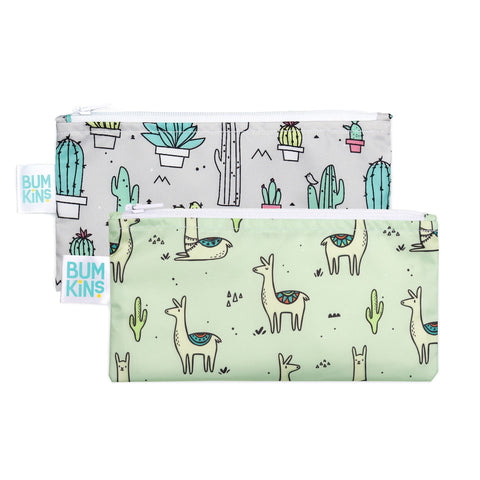 Bumkins 2 pack small snack bag- cacti & llama. One bag grey with cacti. The other bag green with llamas.