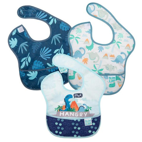 "Bumkins 3 pack superbib- dinosaurs. One bib dark blue/grey with leaves. The second bib white/blue with dinos. The third bib white/blue with a dino and slogan saying ""Hangry""."
