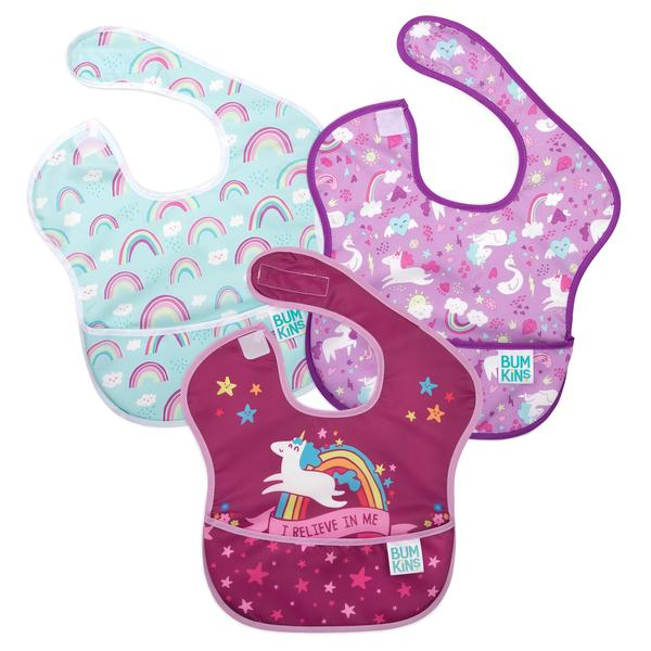 "Bumkins 3 pack superbib- unicorns & rainbows. One bib white/blue with rainbows. The second bib pink/purple with unicorns. The third bib light pink/dark pink with a unicorn and slogan saying ""I Believe In Me""."