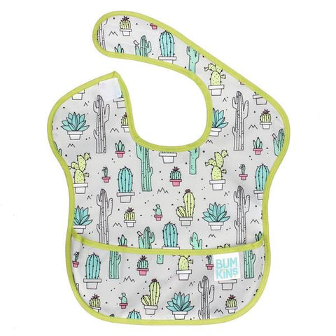 Bumkins superbib- cacti. Grey bib with green trim and cacti pattern.