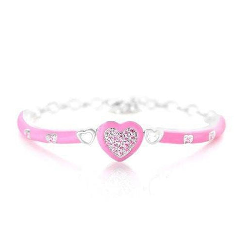 Chanteur - Heart Enamel With Surrounding CZ Heart Adjustable Bangle