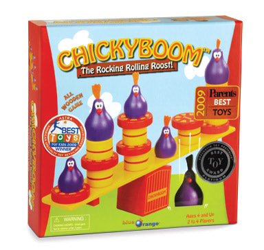 Blue Orange Chickyboom game. The rocking and rolling roost. A game of balancing objects. 2-4 players for ages 2 and up.