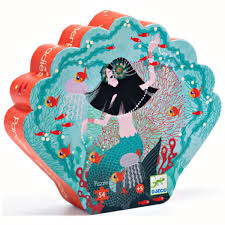Djeco 54pc shaped box puzzle- Mermaid