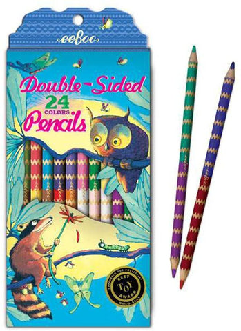 eeBoo 12 pack double sided pencils- Raccoon & Owl