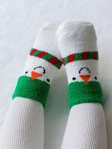 Eva & Elin fleece christmas socks- snowman