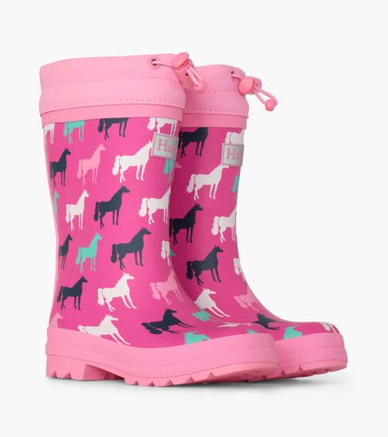 Hatley pink horse silhouettes sherpa lined rain boots
