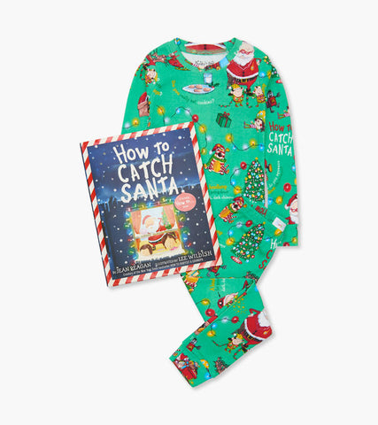 "Books to Bed How to Catch Santa Pajamas & Book. Green Pajamas with ""How to Catch Santa"" design along with the ""How to Catch Santa"" book."
