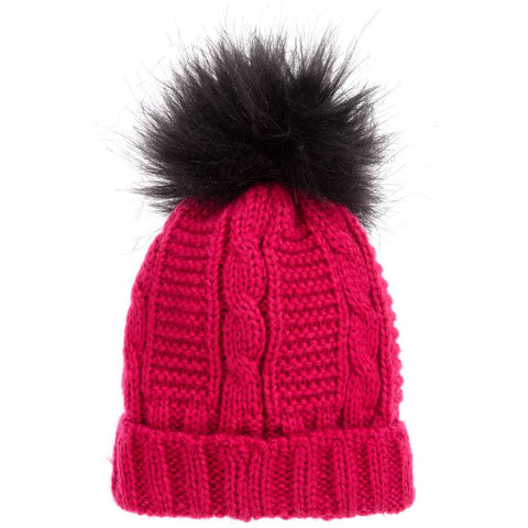 mayoral girls fuchsia rib hat w/ fur pompom