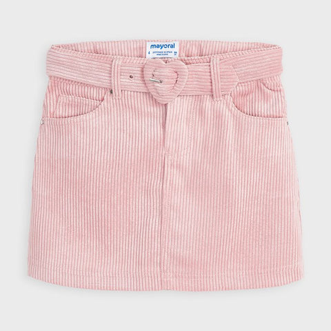 Mayoral girls pink corduroy skirt and belt
