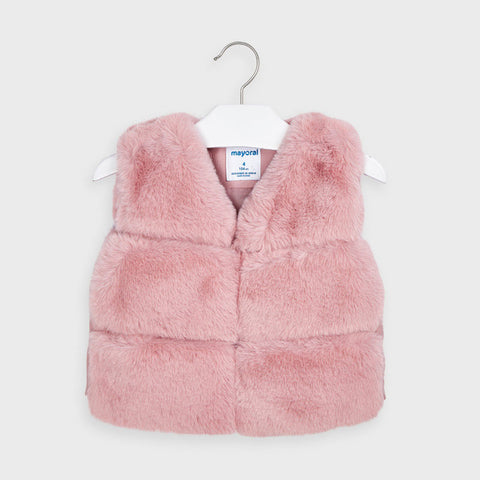 Mayoral girls pink faux fur vest