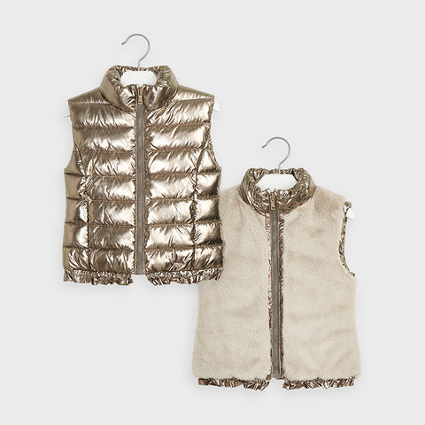 Mayoral girls old gold reversible faux fur vest