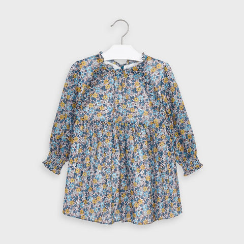 Mayoral girls teal floral chiffon dress