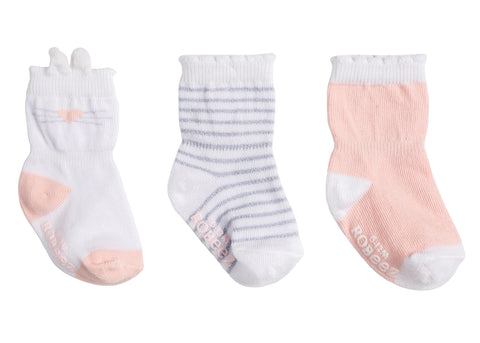 Robeez infant girls 3pk socks- pink bunny