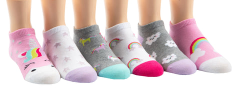 Stride Rite girls 6pk no show socks-retta rainbow
