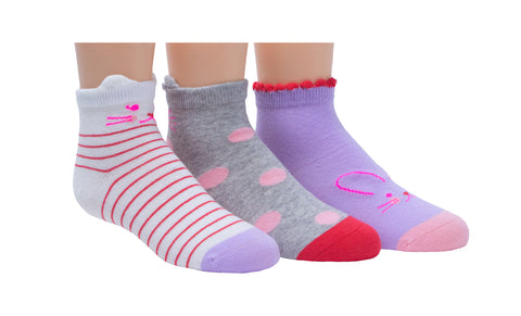 Stride Rite girls 3pk quarter socks- calista critter