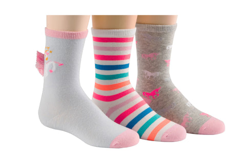 Stride Rite girls 3pk crew socks- faye fringe