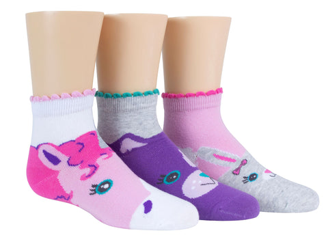 Stride Rite girls 3pk quarter socks- mallory animal faces